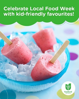 The image has a polka dot background with 3 berry ice pops stuck in a blue bowl of ice. The green text box at the top of the image reads: Celebrate Local Food Week with kid-friendly favourites. The Foodland Ontario logo appears in the bottom right corner.