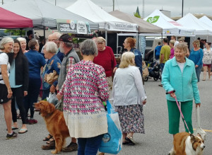 This is a picture of local farmers in their market stalls and people shopping for local food at the North Bay Farmers' Market located in North Bay.