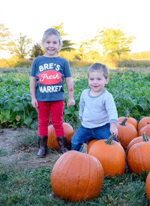 This is a picture of Breann and Kyle Gillespie's two children standing in an Ontario pumpkin patch at their on-farm market. Breann and Kyle are the owners of Bre's Fresh Market located near Tillsonburg in Oxford County.