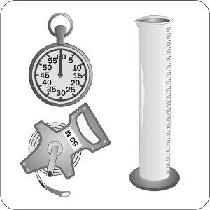 This illustration shows some of the typical tools required to calibrate an airblast sprayer: a stopwatch, a measuring tape and a container with a known volume.