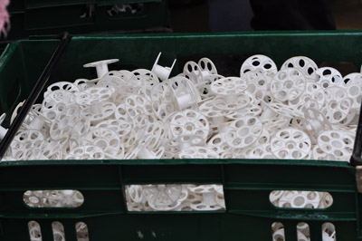Figure 23. Photo of washed and disinfected rollers ready for loading string for the new crop.