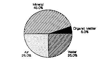 Composition by volume of a typical loam soil.