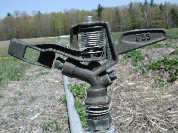 Figure 4: Sprinkler used for frost protection with back nozzle plugged