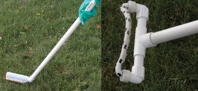 Figure 4-193. Translocated systemic herbicides can be safely applied near trees using a wick wiper - either the hockey stick model (left) or the rope wick (right) have been effective, be sure to time it for the sensitive stage of the wee