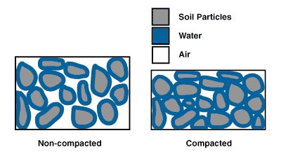 Figure 1. The difference in porosity between compacted and un-compacted soils (Jodi DeJong-Hughes, University of Minnesota, 2001)