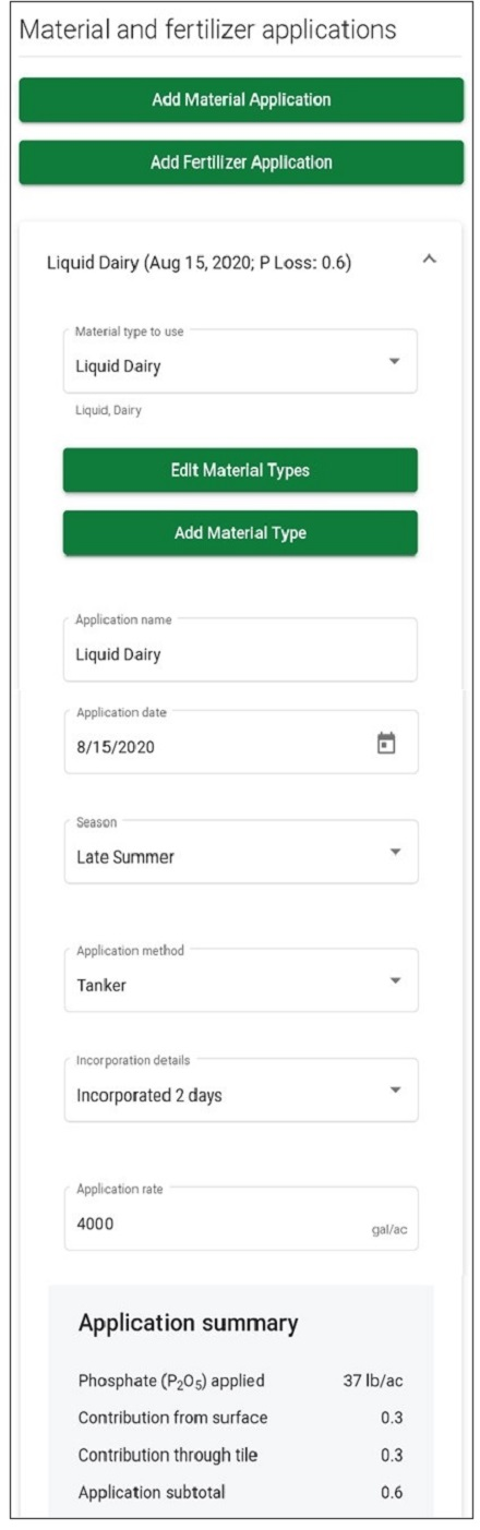 Figure 2. Screenshot of PLATO material application page, showing application details for a Mid-August application of liquid dairy manure.