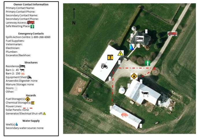 Image of a completed farm fire and emergency sketch with legend