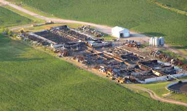Aerial photo of a large swine operation that was completely destroyed by fire in less than one hour.  All that remains standing are feed bins and a drive shed in the background.