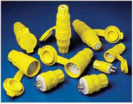 Photo of 8 different models of wet rated, yellow, cord caps on a blue back ground.