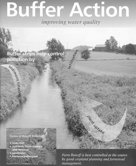 Photo shows the cover of a book titled, Buffer Action, Improving Water Quality.