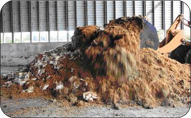 Turning a composting pile consisting of dead poultry mixed with substrate.