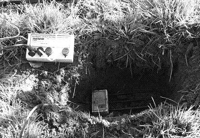 A TDR soil moisture instrument has been placed horizontally in the bottom of a 30-cm hole in an apple orchard. It is connected by a wire to a data logger. The instrument is ready to be re-covered by soil.