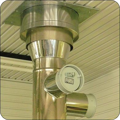 Double insulated stainless steel smoke stack is required where stack passes through an insulated ceiling/floor or wall.