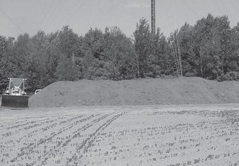 Figure 1 is a picture of pulp and paper biosolids piled on a long, horizontal row across a tilled field for temporary storage.