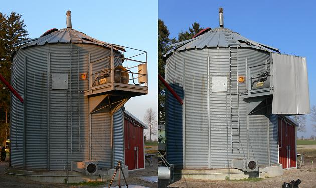 This is a split picture of two. The left picture is of a grain bin with a dryer fan near the top of the bin on an approximately 1.2 x 1.2-m platform. The right picture is the same bin from the same angle but showing a heavy, 25-mm thick blanket-type sound panel around two sides of the dryer fan.