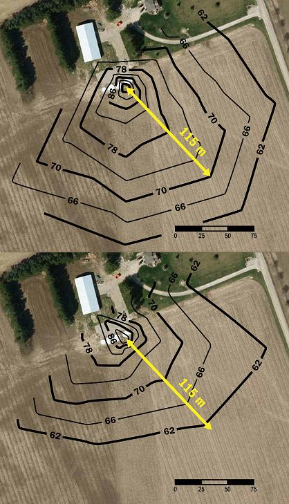 "This is a split picture of two. The lefthand picture is an aerial view of the field directly to the southeast of the grain dryer set-up in Figure 5. The dryer bin is quite small near the top of the picture because the scale is quite large, since the area shown is about 7 ha. A series of sound contour lines are shown starting at 94 dBA near the grain dryer, dropping to 62 dBA in 4-dBA intervals a long distance from the dryer. The righthand picture is the same aerial view, but with a different set of sound contour lines because sound reducing panels are in place. The contours start at 94 dBA and drop to 62 dBA as well, but much closer, or ""tighter"" to the grain dryer than in the top picture."