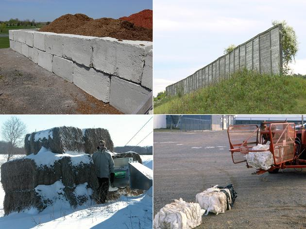 This is a split picture of four. The top left picture shows large concrete blocks stacked two high like bricks in a wall, storing some reddish wood chips. The top right picture shows about a 5 m high pile of soil with a board fence on top. The bottom right picture shows a hay baler with a recently formed white bale of scrap plastic wrap material as it exits the baler. The bottom left picture shows some large rectangular hay bales stacked three high, two wide, forming a partial enclosure around a grain bin drying fan that is about 0.3 m off the ground.
