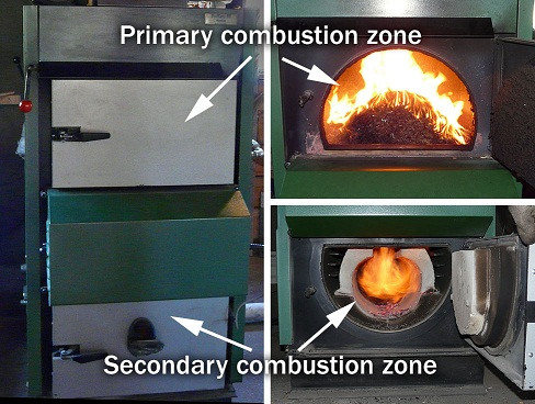 The picture shows primary and secondary combustion chambers of a downdraft two-stage boiler. To the left we show the doors closed and to the right we see the doors opened during combustion.