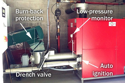 The picture shows an automatic biomass boiler. Safety equipment such as burn-back protection, low pressure monitor and drench valves, is demonstrated. The boiler can start and stop automatically, matching more accurately the heat demand, minimizing harmful emissions and increasing seasonal efficiency.