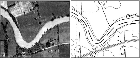A natural watercourse shows up on an aerial photo (left) and topographical map (right).