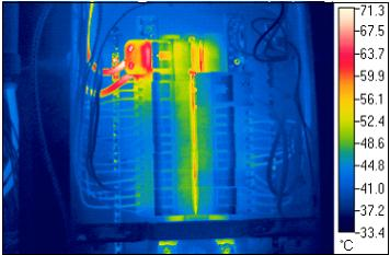Infrared picture of electrical box components. This picture appears courtesy of Randy Drysdale.