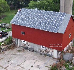 Barn-roof mounted PV system. Courtesy of TDL Electronics.