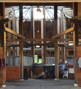 Although a little unconventional in Canada, the round barn structure provides a pleasing layout for its equine tenants while maintaining a practical purpose.