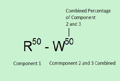 Two component label separated by dashes. Component percentages are a superscript of the Component.  Component 1 has a component percentage 50 and Component 2 has a component percentage 50.