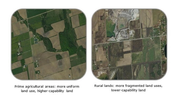 Comparison of prime agricultural areas which are more uniform and higher-capability and rural lands which are more fragmented and lower-capability