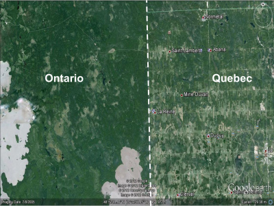 Development differences between Northeastern Ontario (west or left of border) and Northwestern Quebec (right or east of the line) in the Great Clay Belt