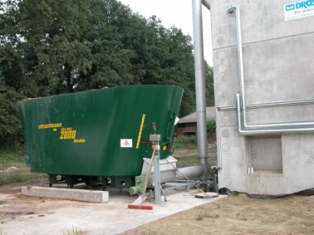 Photo showing Corn silage being added to a digester