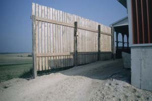 Boad Windbreak Showing the Spacing Between Planks