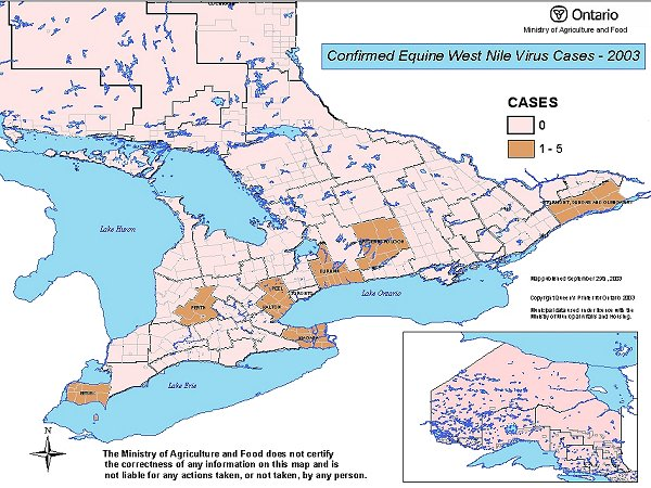 map showing confirmed Equine West Nile Cases - 2003
