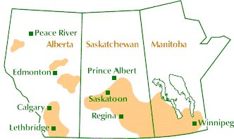 Map of western Canada showing traditional growing area for flax