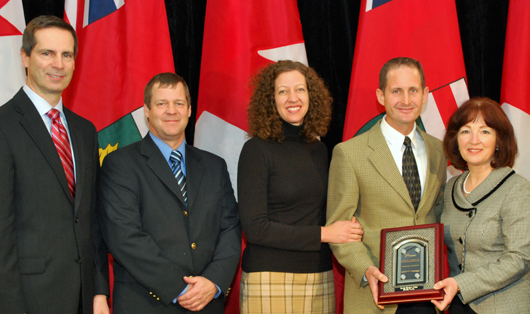 Dalton McGuinty, Premier of Ontario; Dan Vander Kooi; Jennifer and Ron Gleason; Leona Dombrowsky, Minister of Agriculure, Food and Rural Affairs
