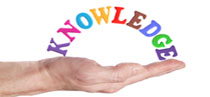 picture of a hand holding the word knowledge