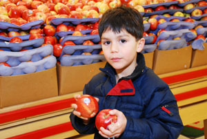 Photo of a young boy holding apples in a store