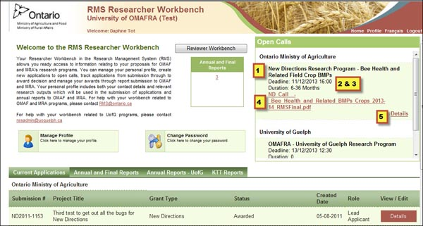 Picture of the RMS Research Workbench highlighting the open call section