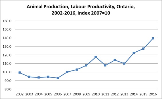 Animal Production, Labour Productivity, Ontario, 2000-2015, index 2007=100